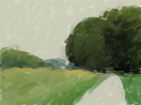 Digital Malerei Landschaft mit iPad © Axel Wondratschke